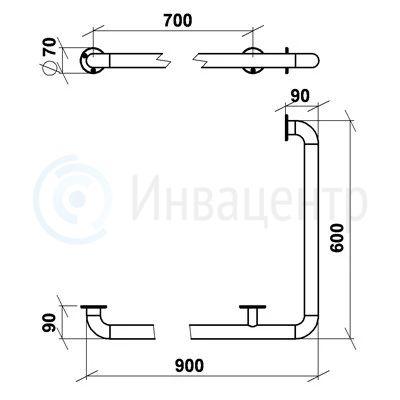 Поручень настенный для внешних углов ПНВЕУ 600x900 мм