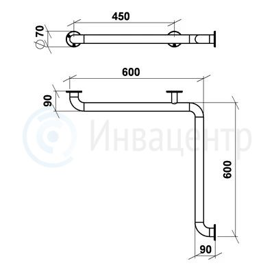 Поручень настенный для внутренних углов ПНВУУ 600x600 мм