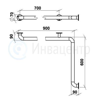 Поручень настенный для внутренних углов ПНВУУ 600x900 мм