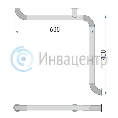 Поручень настенный для внутренних углов ПНВУУ 600x400 мм
