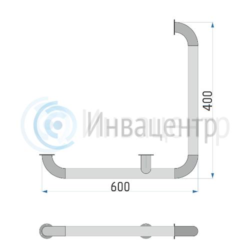 Поручень настенный для внешних углов ПНВЕУ 600x400 мм