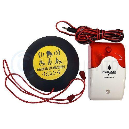 Кнопка вызова антивандальная всепогодная со шнурком + выносной свето - звуковой оповещатель (Ау)