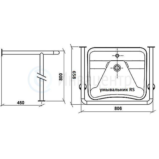 Поручень для раковины пол-стена ПРПС нерж. сталь d-38