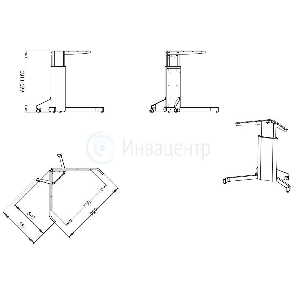 Стол на электроприводе с одной опорой Uno V